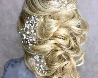 Bridal hair pins set of 3  Wedding pins Prom hair piece  Leaf hair pins Wedding hair piece  Bridal hair accessories  Wedding headpiece