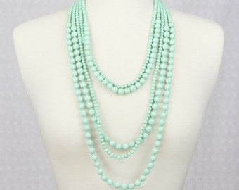 Multi Strand Beads Necklace Statement Necklace Mint Green Multi Layered Necklace Beaded Necklace