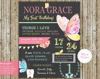 Butterfly Birthday Party Decor First Birthday Sign Chalkboard, Favorite Things 1st Birthday Milestones Keepsake Poster Photo Prop