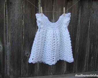 Infant Dress/Baptism Dress/Girl Pinafore/Crochet Dress/Crochet Pinafore/White Dress/Baby Dress/Baby Clothes