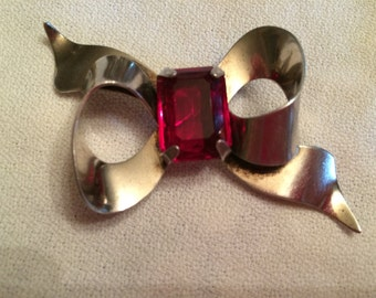 Vintage Sterling Bow Pin with Red Glass Stone in Center