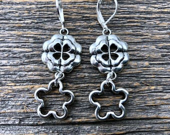 Tibetan Silver Celtic Earrings With Shamrocks and Four Leaf Clover Cutout  ST PATRICK'S DAY Jewelry
