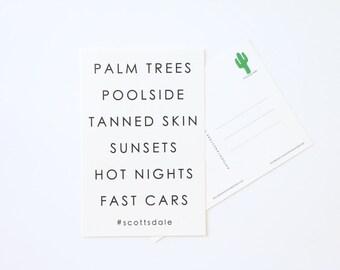 Scottsdale Arizona Hashtag Postcard, Bachelorette Gifts
