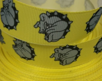 7/8 inch Bulldogs on Yellow Sports - Printed Grosgrain Ribbon for Hair Bow