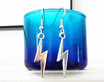 LIGHTNING BOLT EARRINGS in silver tone -lightweight 1 1/4 inch bolts - surgical stainless steel, hypoallergenic, sensitive ears wires
