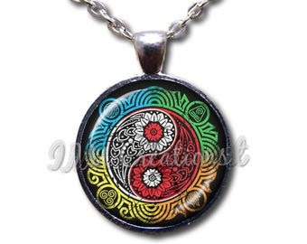Yin Yang Zen Colorful Glass Dome Pendant or with Chain Link Necklace SM202
