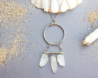 Dreamcatcher Sea Glass Necklace   Sea Glass Jewelry   Unique Necklaces For Women   Beach Jewelry   Boho Chic Ring Necklace   Gift For Mom