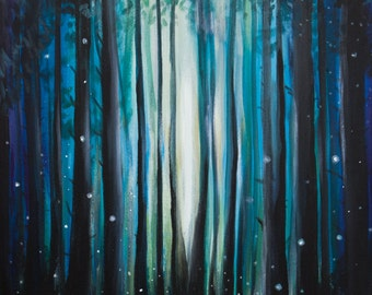 Firefly Painting with Tent, Camping in the Woods - Photo Print