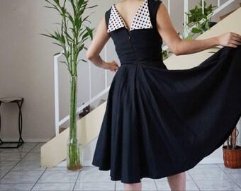 1960s little black dress / polka dot dress