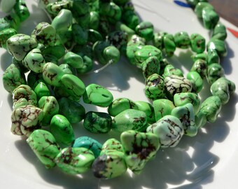 Green Nugget Magnesite Turquoise Beads  FULL STRAND