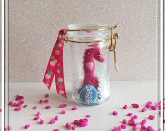 Pink seahorse jar decoration