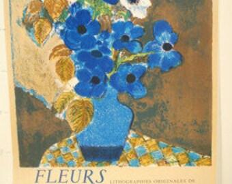 Guy Bardone, Affiche  1975, Original Lithograph, Fleurs , born 1927