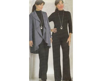 Womens High Low Jacket with Pants and Top Very Easy Uncut Butterick 5070 Size 4 to 14 Bust 29.5 to 36 Raglan Sleeves Shawl Collar