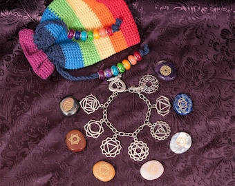 Chakra charms, Gypsy Bracelet, adjustable size