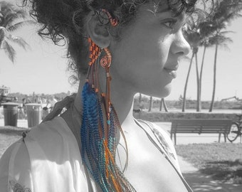Oceanic blue feather earhook