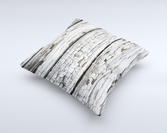 White Wide Aged Wood Planks ink-Fuzed Decorative Throw Pillow