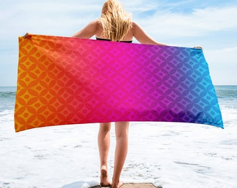 Rainbow Geometric Beach Towel