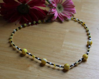 OOAK Yellow and Black Beaded Necklace