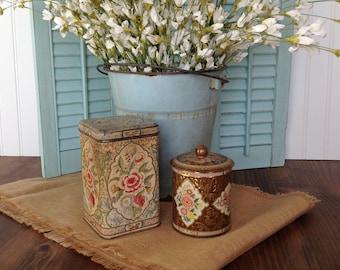 Vintage tin containers, Decorative tin box, Kitchen decor, Kitchen storage, Shabby-chic decor, Farmhouse decor