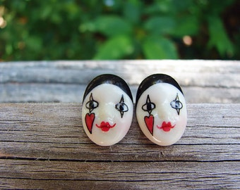 Adagio  Earrings Hand-Painted Porcelain Vintage