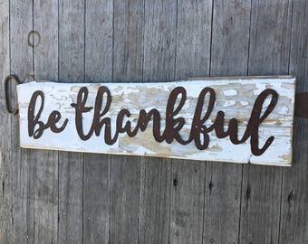 Be Thankful barn wood sign, Be thankful wall hanging, Be thankful barn board sign, barn wood signs, barn board signs, farmhouse decor
