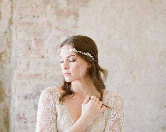 Wedding Hair Vine, Gold Hair Piece, Crystal Bridal Headpiece, Bridal Headpiece, Floral Hair Vine, Delicate Hair Piece, Gold Hair Vine