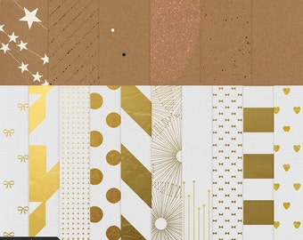 Gold Foil and Kraft Painted Papers - Digital Scrapbooking, digital papers, INSTANT DOWNLOAD, commercial or personal use