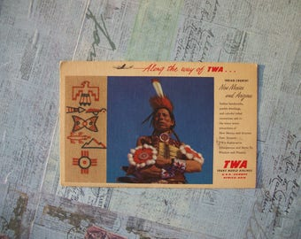 Vintage 1950s TWA Linen Postcard - Along the Way of TWA - Previously Used.
