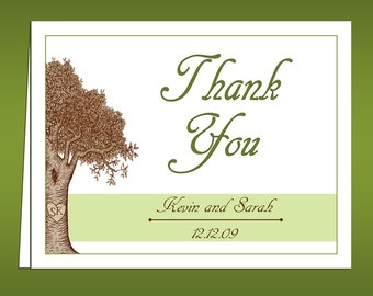 Carved Initials . . . Custom Tree Thank You Cards
