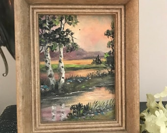 Vintage Framed Miniature Painting on Canvas, Original Oil