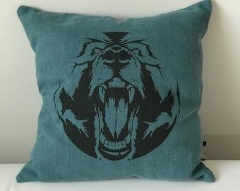 Blue bear pillow cover