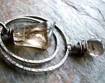 Smoky Quartz Druzy and Smooth Smoky Quartz Briolette Sterling Silver Pendant Necklace