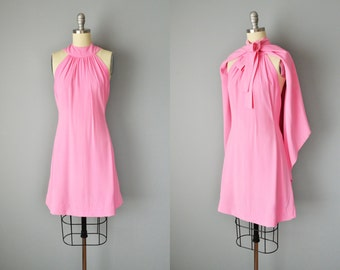 60s Dress // 1960s Donald Brooks Pink Crepe Mini Dress with matching Cape // Small-XS