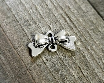 Bow Connector Bow Pendant Bow Link Ribbon Charm Bow Charm Ribbon Connector Silver Bow Charm