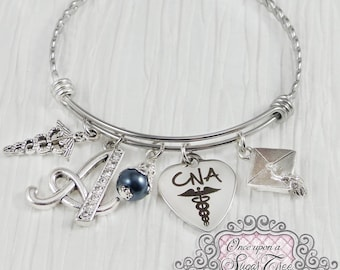 CNA GIFTS, Graduation Jewelry, Personalized Initial charm Bangle Bracelet,Medical Bracelet, College Grad Gift,New Grad Gifts, Grad Gifts