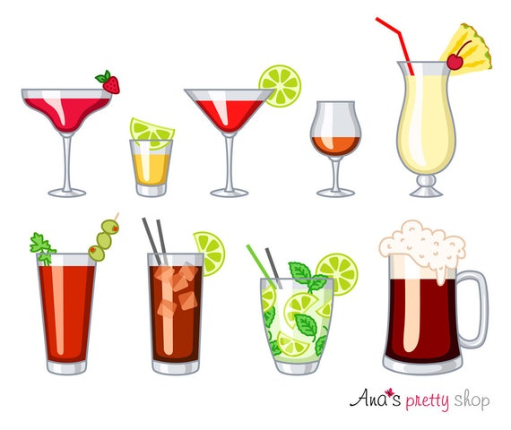alcohol glasses clipart drinks daiquiri tequila rh etsy com clipart drinking alcohol clip art drink water