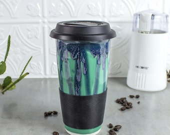 Travel Mug with Lid, To Go Mug with Silicone Lid, Gift for everyone, Mint Green BlueRoomPottery handmade pottery Kitchen gourmet for mom dad
