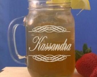 Personalized 15 ounce Mason Jar Mug-Engraved Wedding Party Gifts-Bridesmaid Gift-Groomsmen Favor-Mason Jar with Handle-Free Engraving