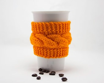 Mug Cozy hand knitted, Travel Mug Cozy, Coffee Cup Sleeve, gift for her, gift for him, hand knitted cosy
