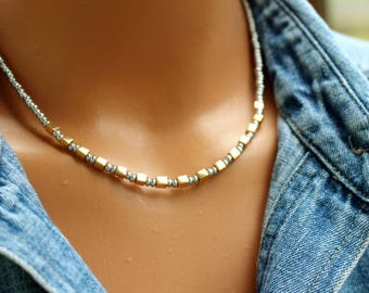 Gold and Silver Necklace, Silver Beaded Necklace, Boho Chic Beaded Necklace, Simple Layering Necklace, Womens Beaded Necklace, Gift For Her
