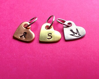 Custom Hand Stamped Tiny Heart Initial Charms- Aluminum, Copper, or Brass- You Choose the Font
