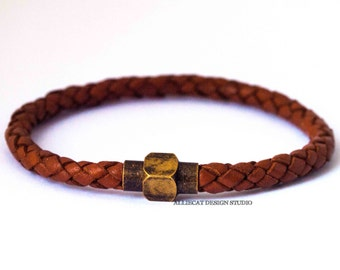 Bohemian Bracelet, Boho Bracelet, 1x Light Brown Brass Plate Braided Wrap Bracelet (7 inches)