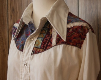 70s Medium western wear pearl snap button up