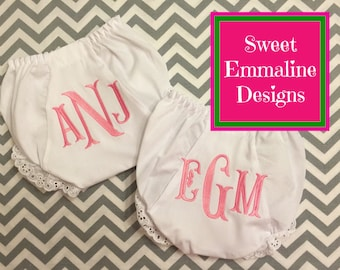 Monogrammed Baby Bloomers Diaper Covers