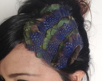 feather headband - feather fascinator - navy blue feather headband - feather hair clip - women hair accessories - women's gift - WILHELMINA