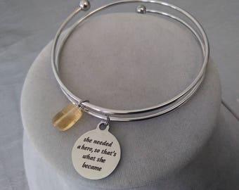 Hero Charm and Citrine Steel Bangle Bracelet
