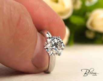 2.01 ct. Two Carat Diamond Ring GIA Certified Diamond Ring 18K White Gold 2 ct. Diamond Engagement Ring  GIA Diamond Ring BloomDiamonds