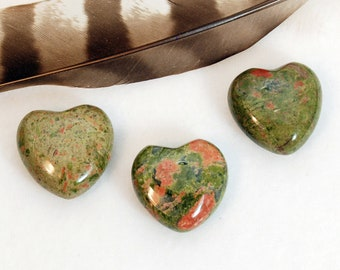UNAKITE Heart Stone | Unakite Crystal Heart | Recovery Gift, Wedding Favor, Remembrance Gift | Chakra Energy Healing Stones | Green Heart