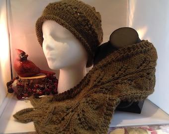 Woodland Fern Hand Knit Hat & Scarf Set