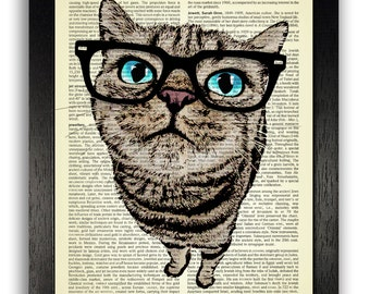 Cat with Blue Eyes & Black Glasses Art Print, Dictionary Art Decor, Cool Cat Wall Decal, Cat Gift for Girlfriend, Dictionary Page Art Print